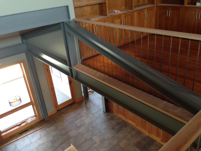 Exposed steel beam home blue springs beam for Structural beams for houses